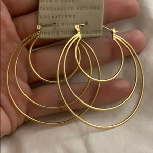 Anthropologie Gold Lightweight Hoops